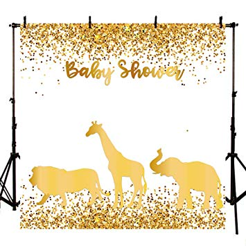 Baby shower safari background clipart vector black and white download Mehofoto 8x8 Gold Safari Baby Shower Backdrop Step and Repeat Jungle  Animals Photography Background Personalize Jungle Animal Backdrops for  Newborn ... vector black and white download