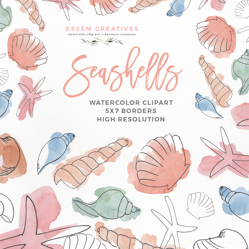 Watercolor Seashells Clipart | Under the Sea Birthday Party | Invitation  Decorations Baby Shower Nursery banner library download