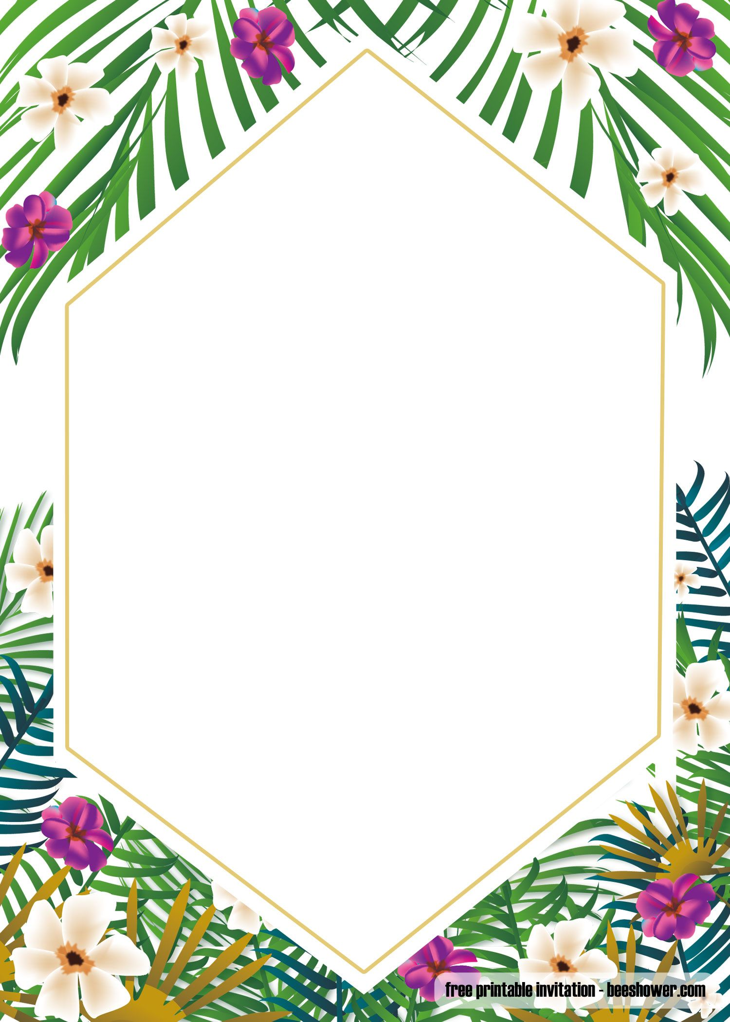 Awesome Free Printable Tropical Baby Shower Invitation Template ... image free download