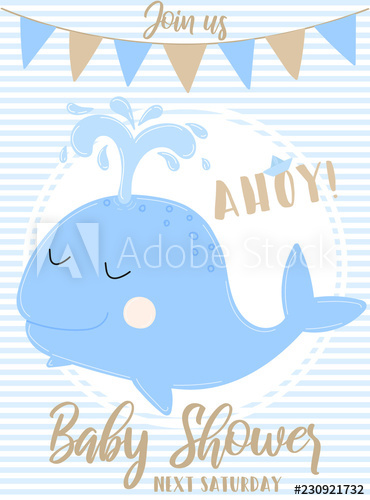 Vector image of a blue whale with the inscription Baby Shower and ... svg royalty free stock