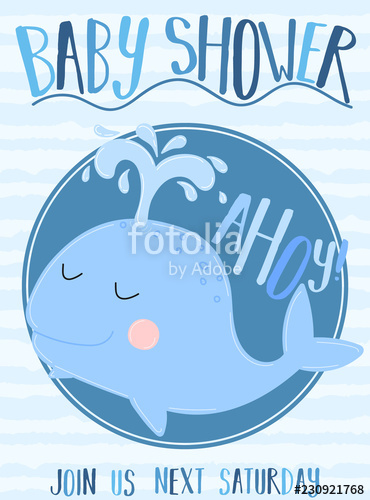 Vector image of a whale with the inscription Baby Shower and Ahoy on ... banner black and white library