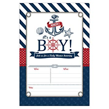 Nautical Baby Shower Invitations, Ahoy It\'s a Boy Baby Shower Invites, 20  Fill in Beach... banner royalty free library