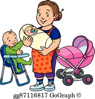 Baby sitter clipart clipart black and white library Nanny Clip Art - Royalty Free - GoGraph clipart black and white library