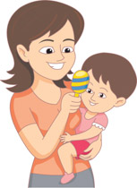 Baby sitter clipart image transparent Baby Sitter Holding Child And Toy Clipart » Clipart Station image transparent