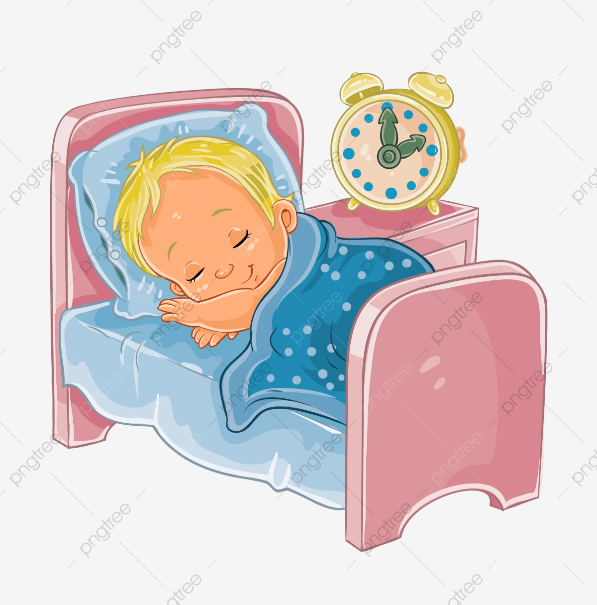 Vector Clip Art Illustration Of A Little Baby Sleeping In His Bed ... vector transparent library