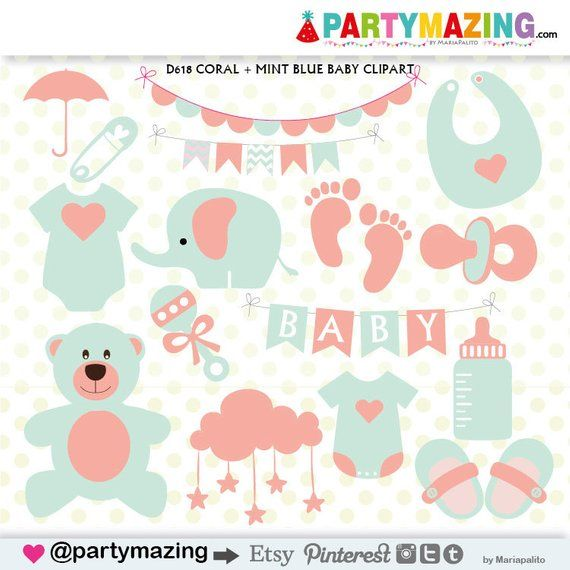Baby stuff pictures clipart black and white stock Baby Stuff Clipart, Baby Shower Clipart, Coral and Mint, Teddy Bear ... black and white stock