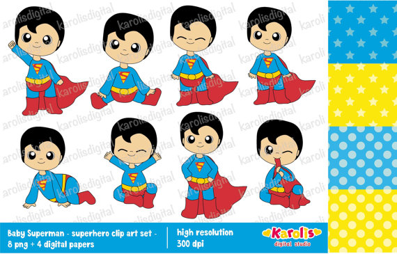 Baby superman clipart picture transparent library Baby superman Superhero clip art and digital by karolisdigital picture transparent library