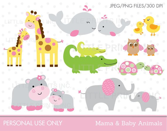 Baby to mama animal clipart jpg black and white Mama & Baby Animal Clipart Elephant Whale Giraffe Hippo Owl ... jpg black and white