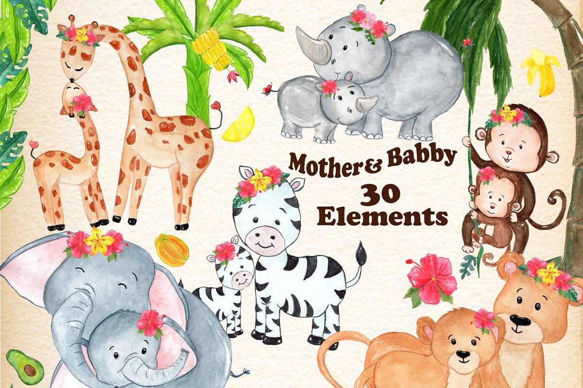 Baby to mama animal clipart png free Mother and baby animals clipart ~ Illustrations ~ Creative Market png free