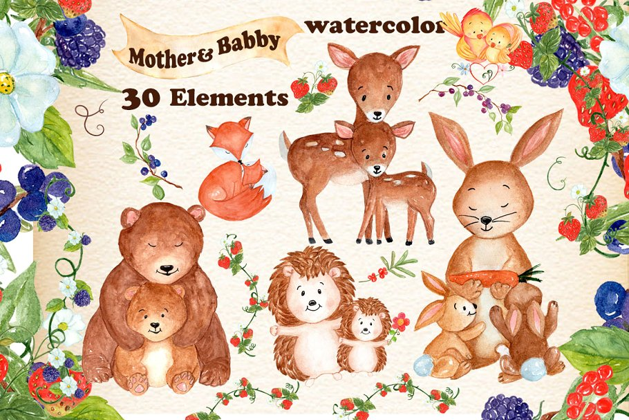 Baby to mama animal clipart svg royalty free Mother and baby animals clipart ~ Illustrations ~ Creative Market svg royalty free