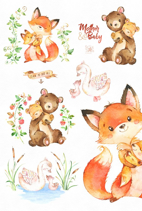 Baby to mama animal clipart clip freeuse Mother And Baby. Lovely Collection. clip freeuse
