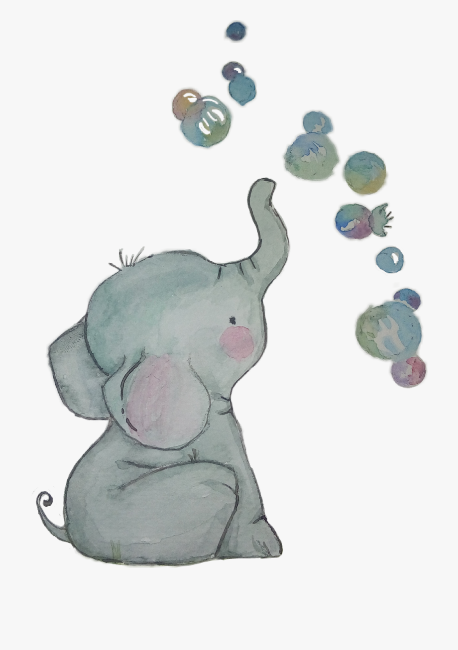 Watercolor baby elephant clipart clip art black and white library Clipart Watercolor Baby Elephant - Watercolor Cartoon Baby Elephant ... clip art black and white library