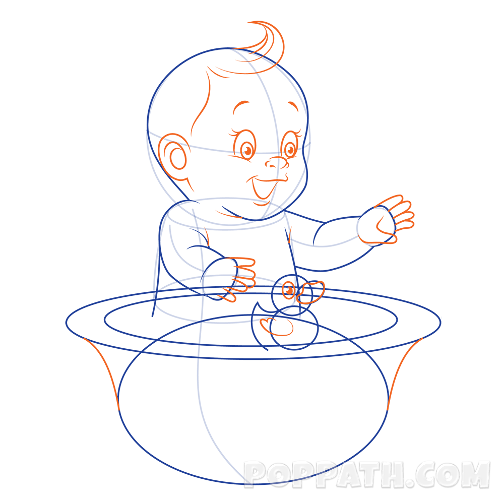 Baby with book clipart image freeuse library How To Draw A Baby Taking A Bath – Pop Path image freeuse library