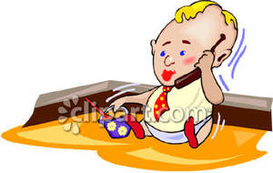 Baby with cell phone clipart picture library stock A Baby On A Cell Phone Sitting In A Sandbox - Royalty Free Clipart ... picture library stock