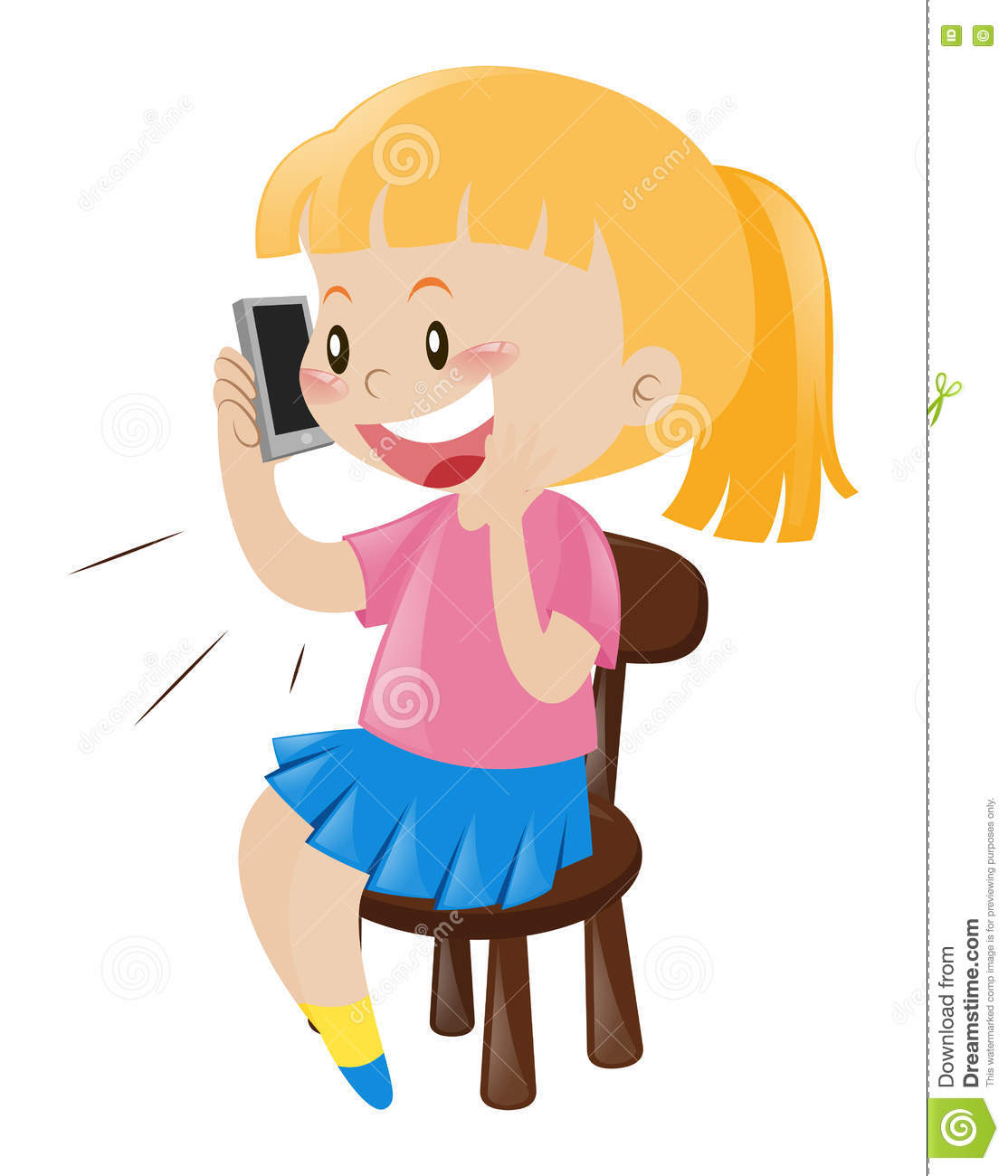 Woman with phone clipart