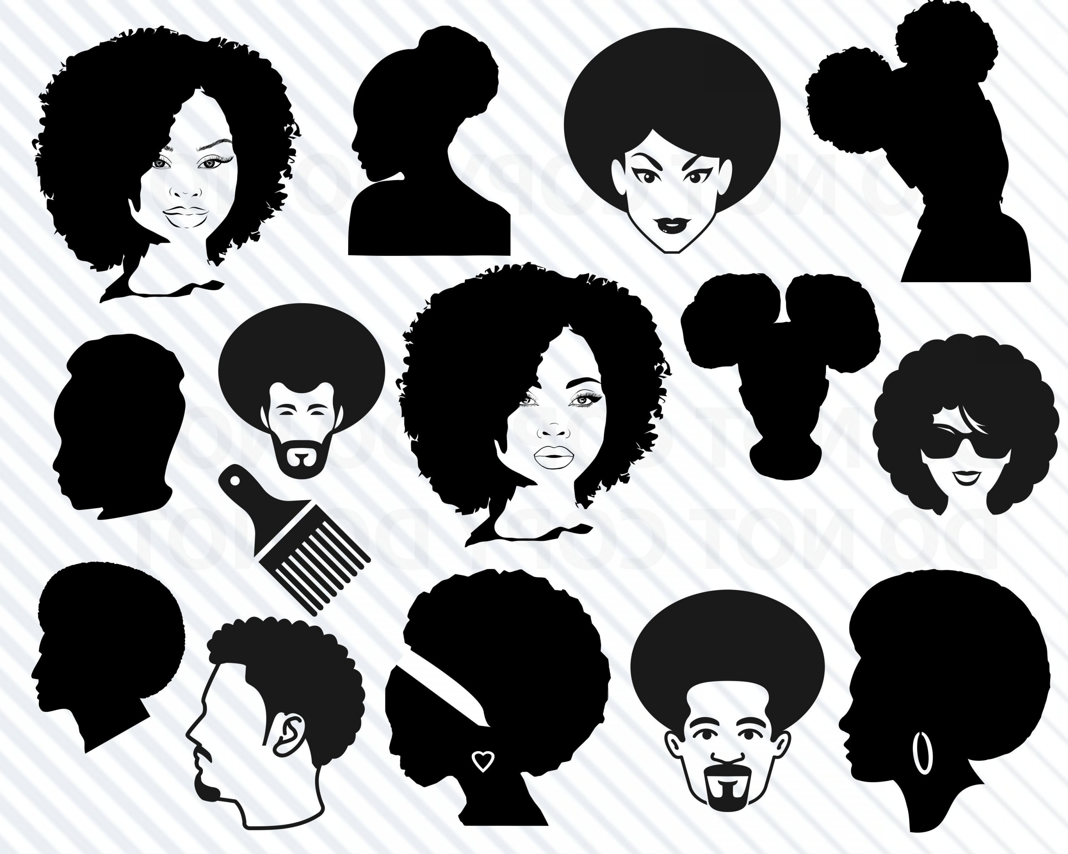 Baby with curly hair on top clipart silhouette graphic transparent Afro Puff Silhouette Vector | SOIDERGI graphic transparent