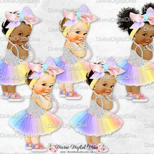 Baby with large head clipart jpg freeuse download Rainbow Tulle Party Dress Silver Shirt Big Head Bow Fringe Sneakers ... jpg freeuse download
