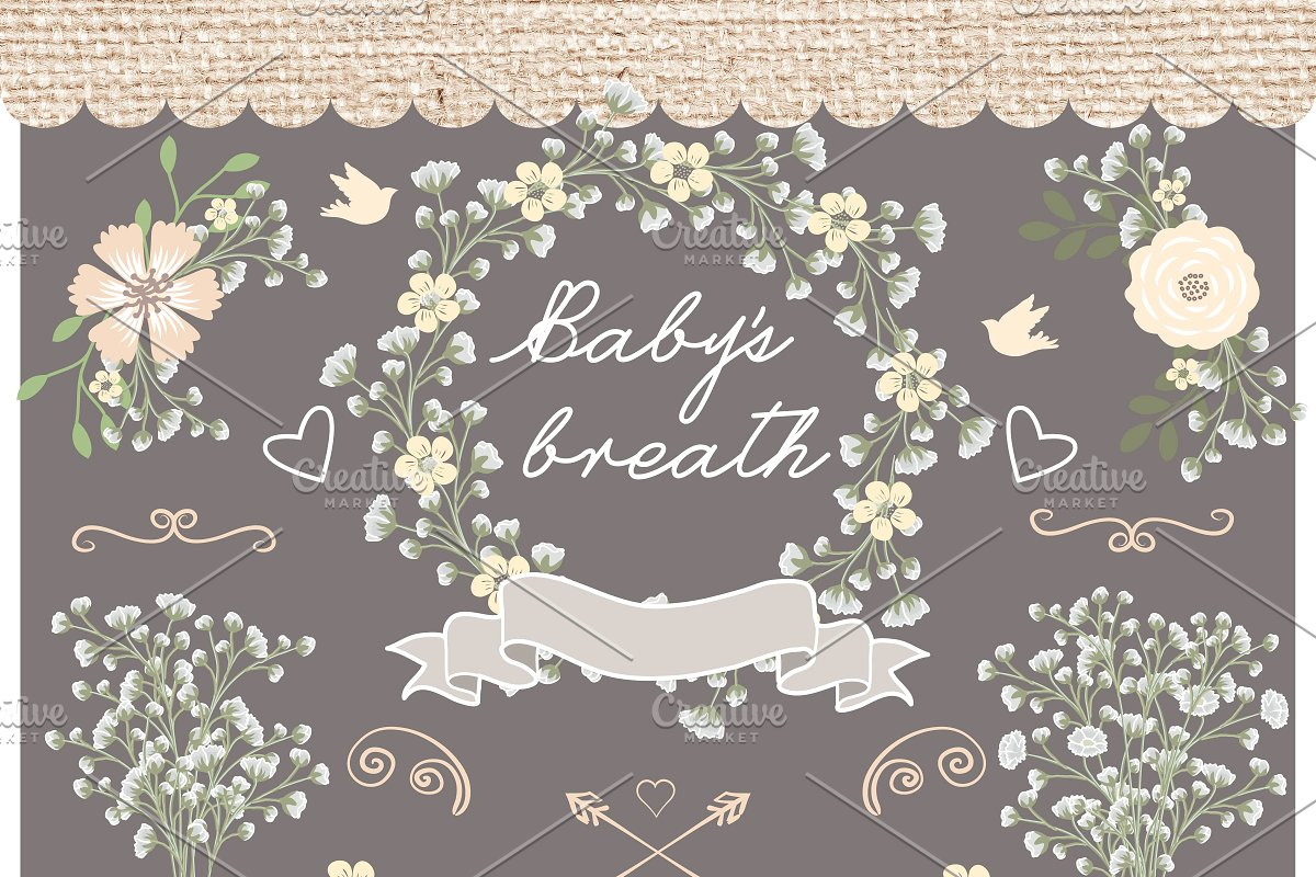 Vector baby breath clip arts clipart black and white download