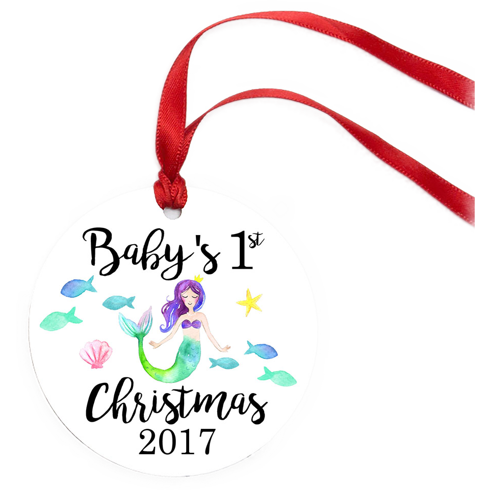 Baby's first christmas clipart vector freeuse library Mermaid - Baby's First Christmas Ornament – Stick'em Up Baby™ vector freeuse library
