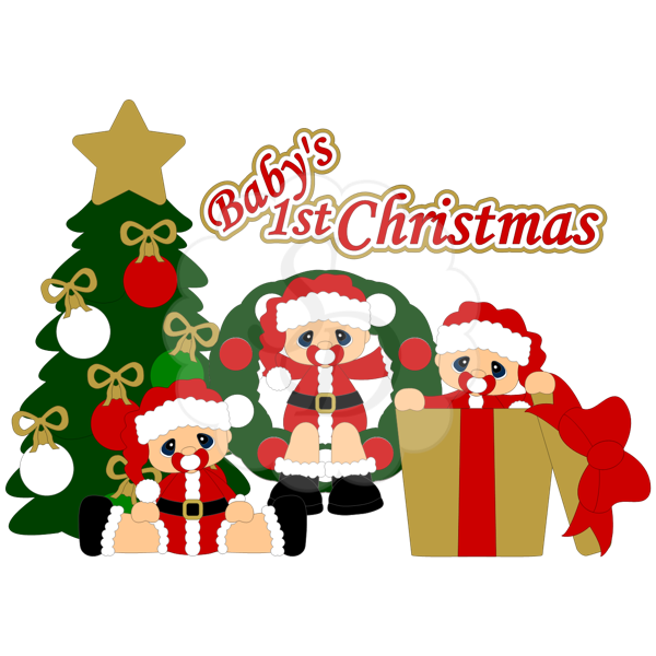 Baby's first christmas clipart