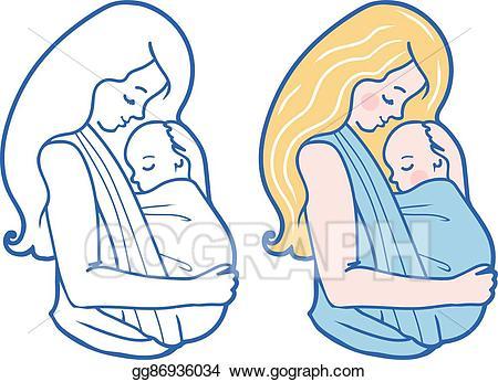 Babywearing clipart jpg EPS Illustration - Vector babywearing illustration with mother ... jpg