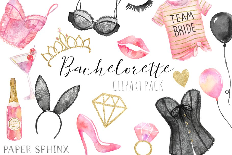 Bachelorette clipart banner freeuse library Watercolor Bachelorette Clipart banner freeuse library