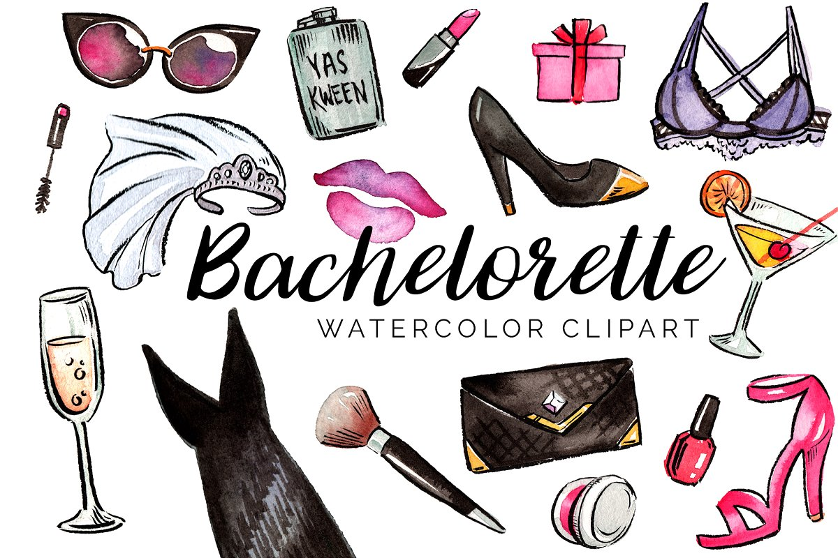 Bachelorette clipart clip art black and white Watercolor Bachelorette Clipart Set clip art black and white