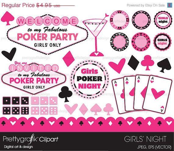 Bachelorette party vegas clipart transparent stock BUY20GET10 - Poker party clipart, commercial use, vector graphics ... transparent stock