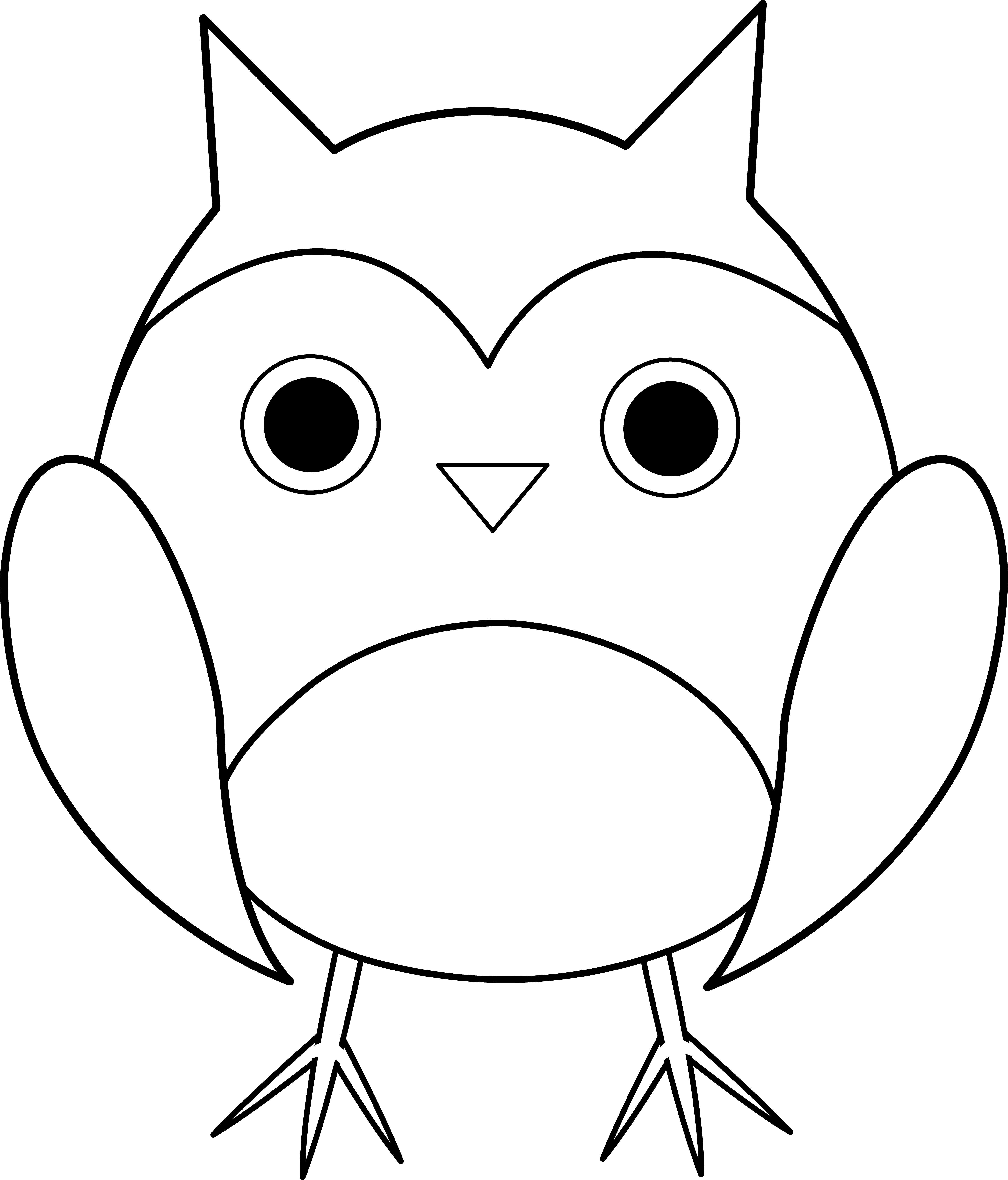 Back and white owl clipart