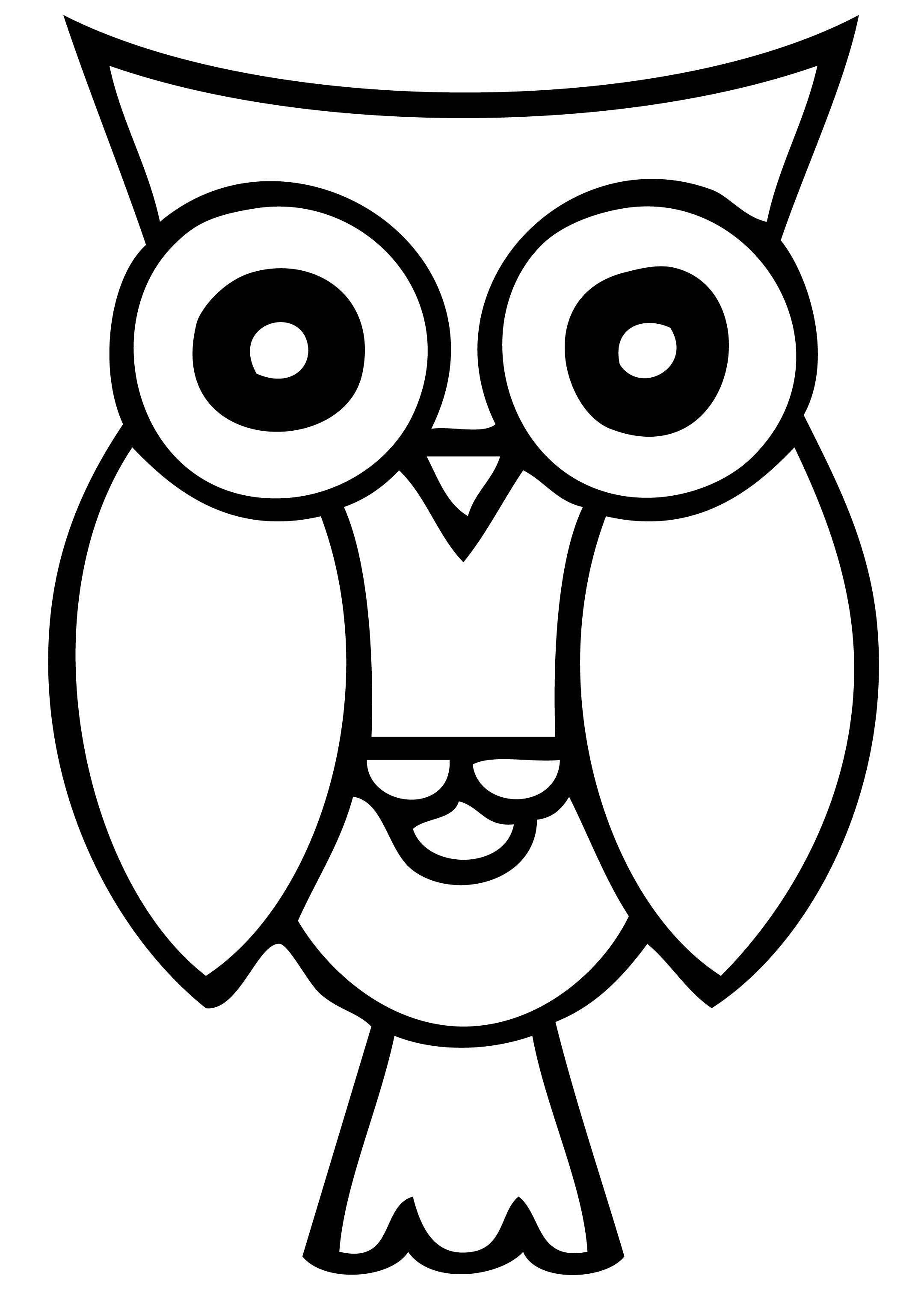 Owl at night black and white clipart