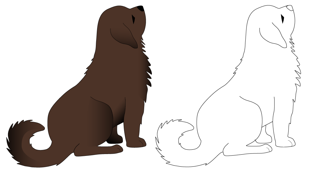 Lineart by azaleapoena on. Dog sitting clipart