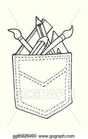 Back pocket clipart jpg Vector Illustration - Stationary in the back pocket. EPS Clipart ... jpg