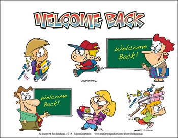 Back to back cartoon clipart clip freeuse stock Welcome Back to School Cartoon Clipart Sampler clip freeuse stock