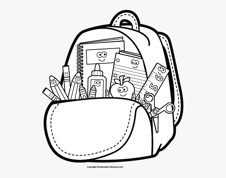 Back to school black and white clipart free jpg royalty free stock Free Back To School Clipart - School Bag Clipart Black And White ... jpg royalty free stock