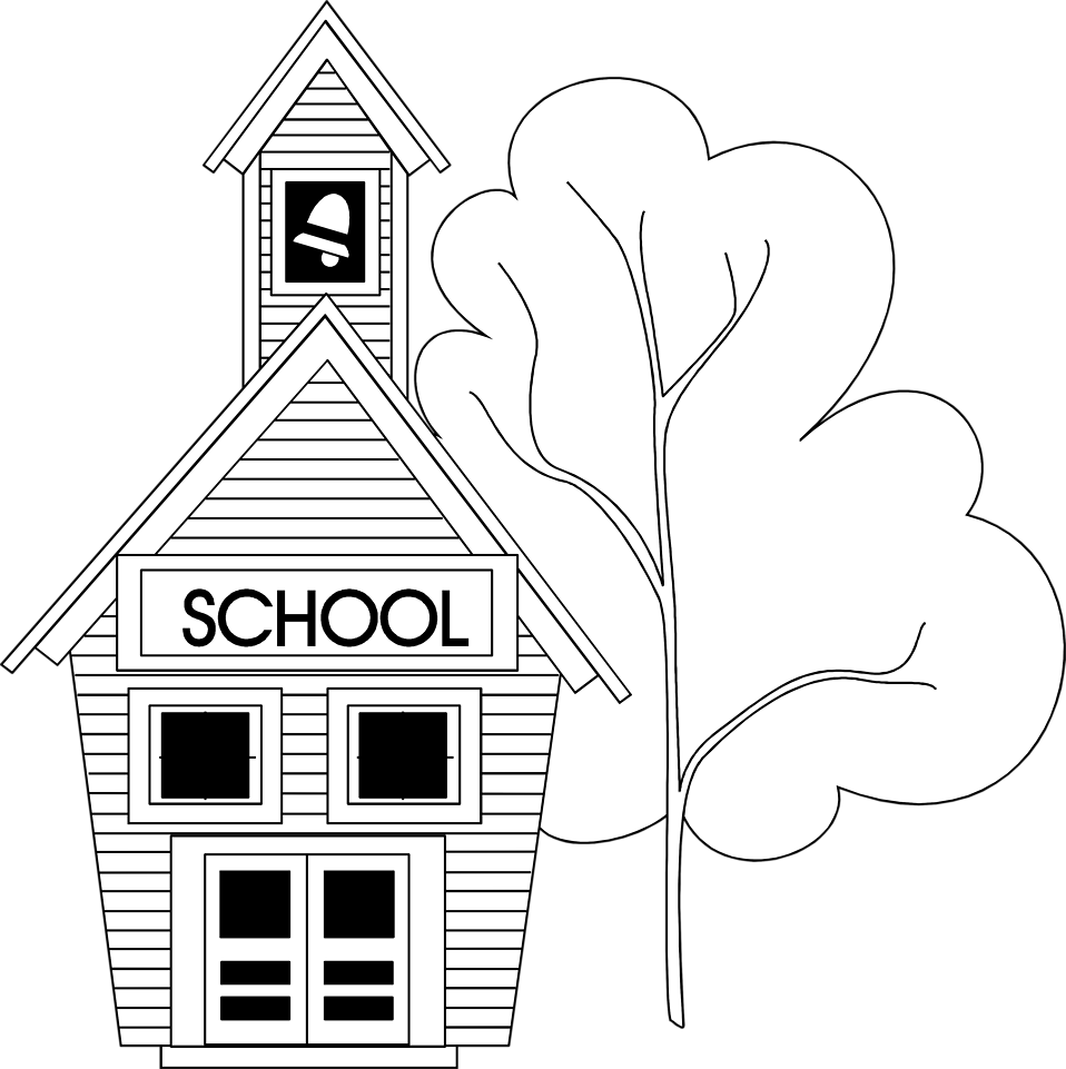School house black and white clipart banner free stock 28+ Collection of School Clipart Black And White Png | High quality ... banner free stock