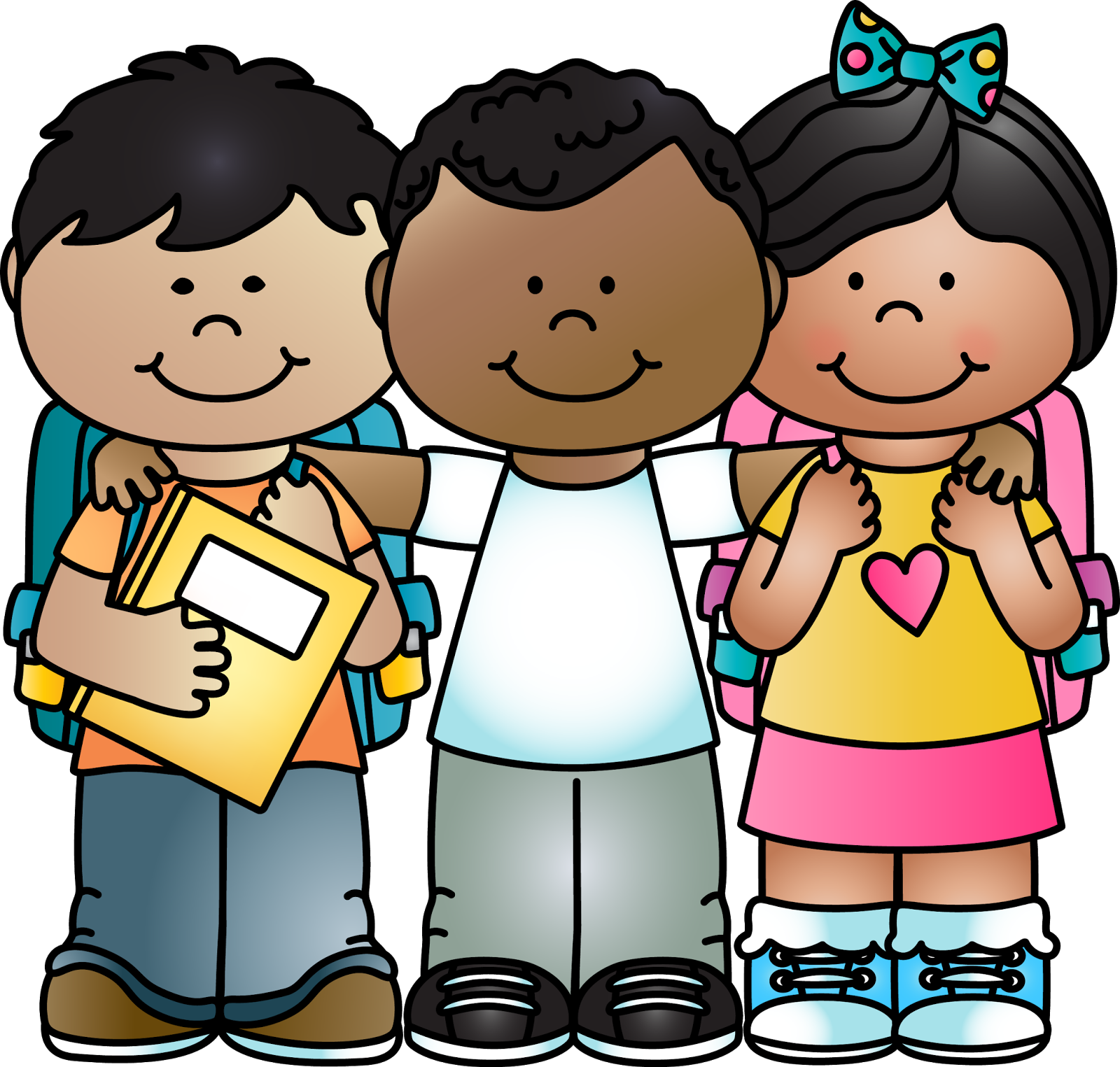 Cute school kids clipart