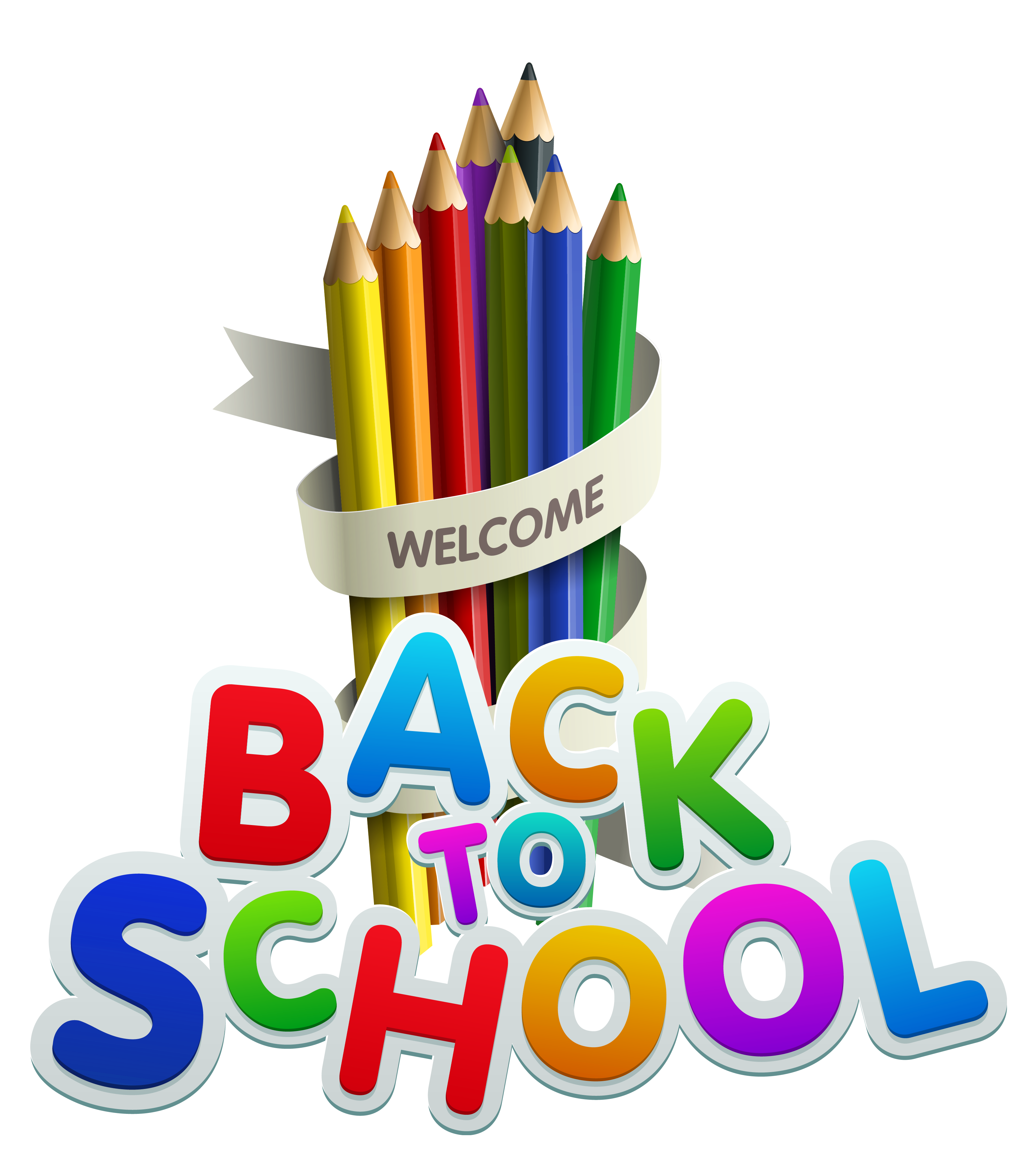 Welcome back school clipart image black and white welcome-back-to-school-color-pencils-clipart | welcome to mcbride annex image black and white
