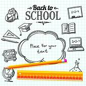 Back to school message clipart clip Clipart of Back to school message on paper with speech bubble for ... clip