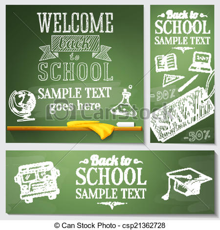 Back to school message clipart picture black and white stock Vector Illustration of Welcome back to school messages on the ... picture black and white stock