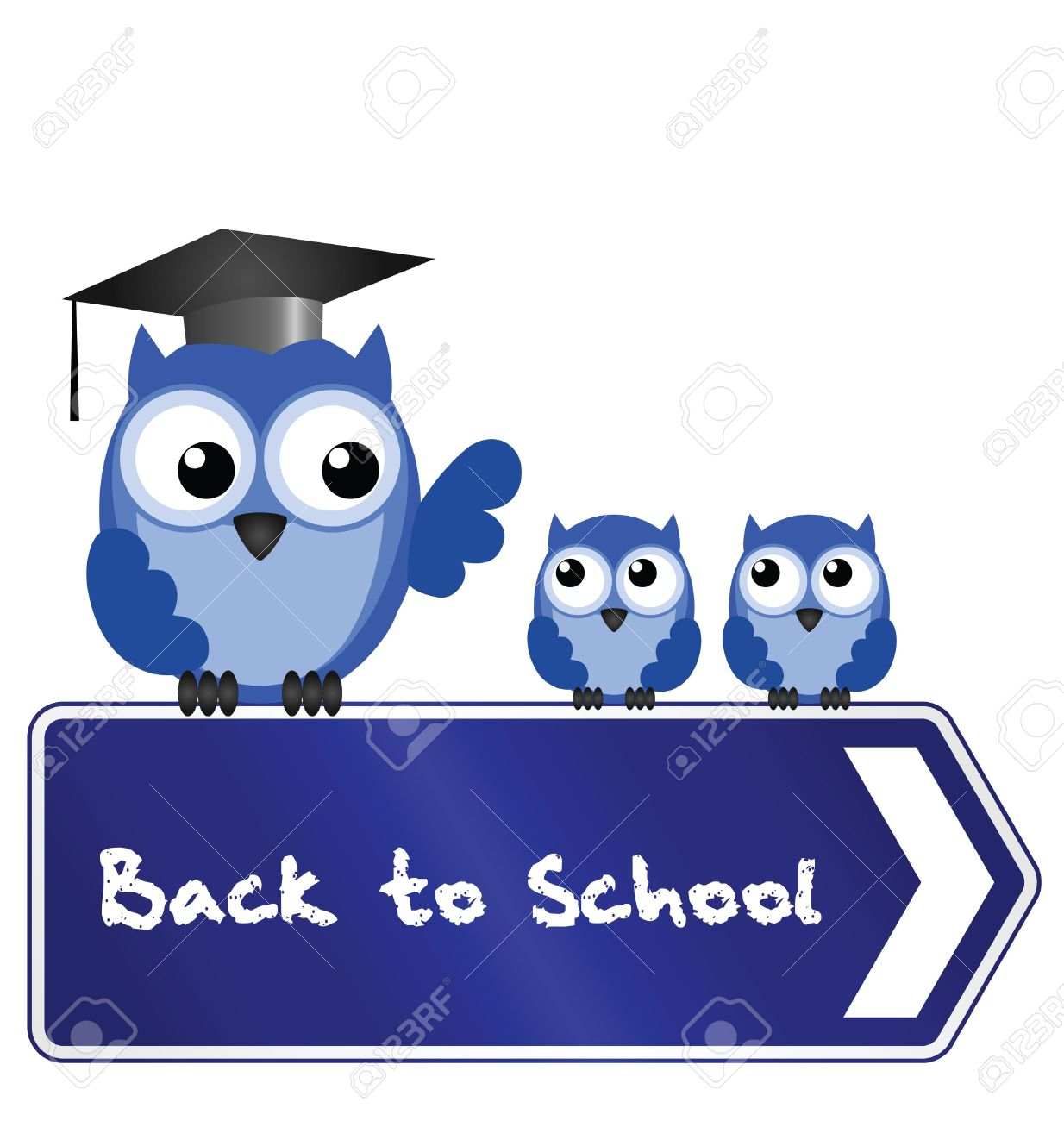 Back to school message clipart download Owl Teacher And Pupils With Back To School Message On Sign Royalty ... download