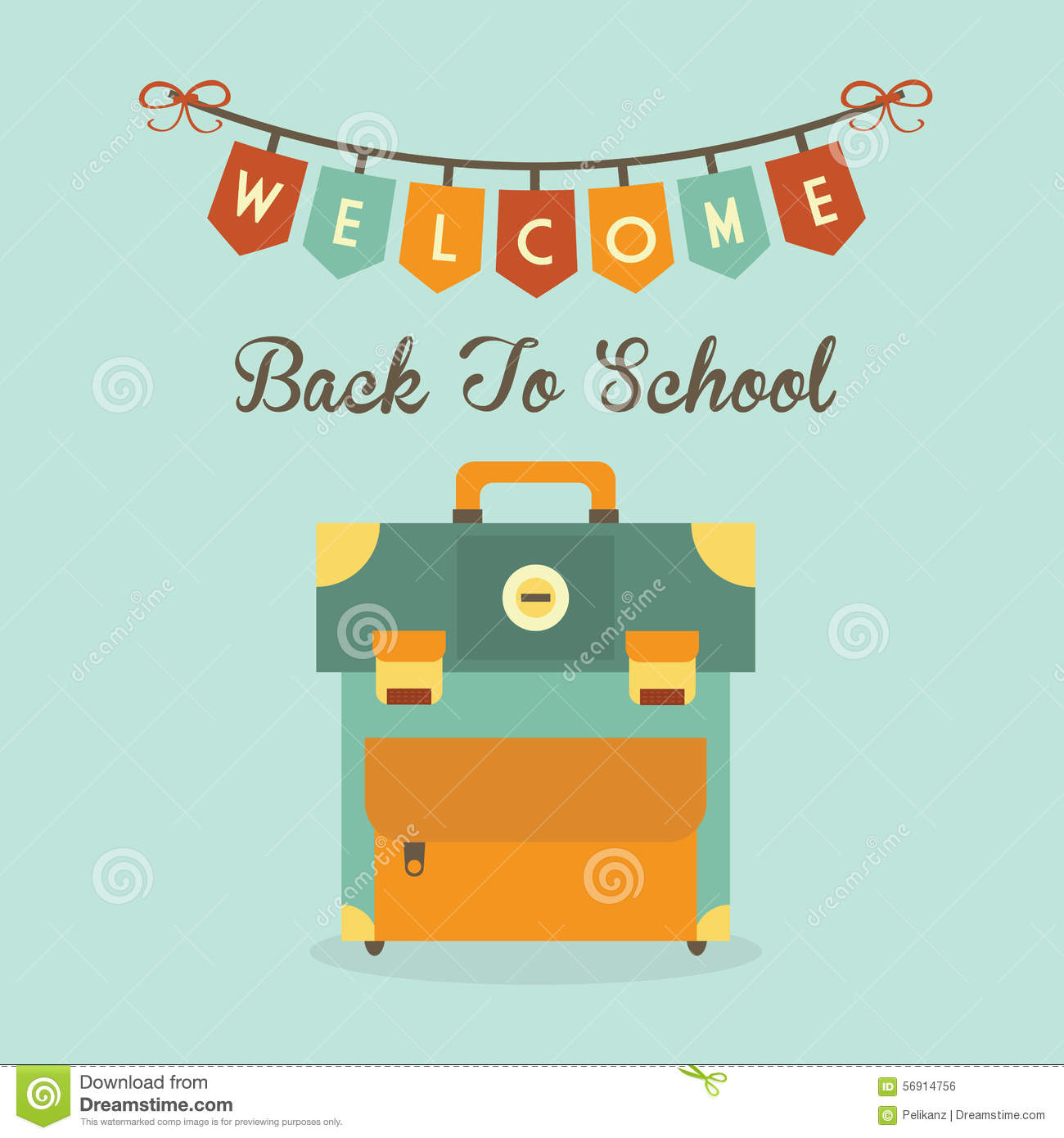 Back to school message clipart vector royalty free stock Welcome Back To School Banner Message With Retro School Bag Icon ... vector royalty free stock