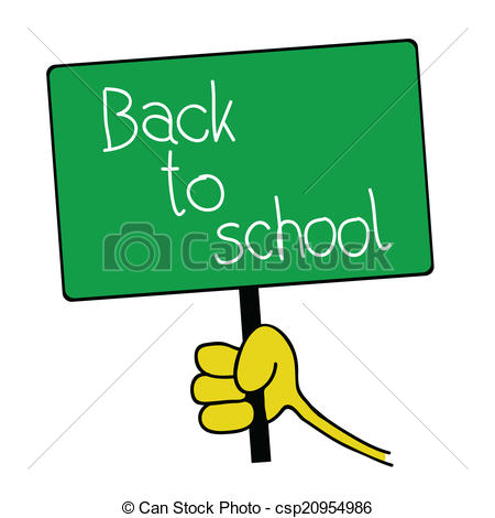 Back to school message clipart png black and white Vector of table with back to school message illustration - table ... png black and white