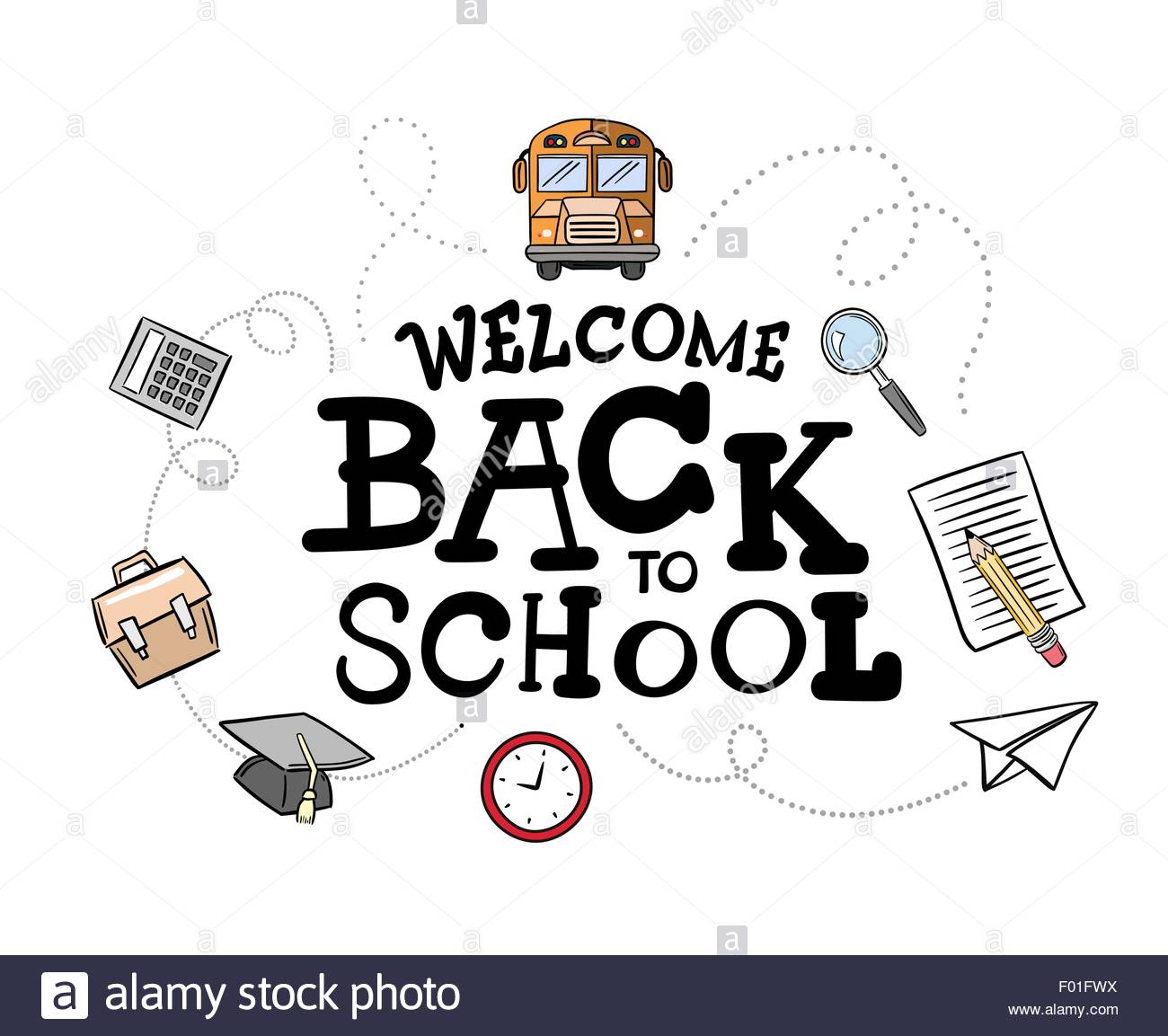 Back to school message clipart clipart freeuse stock Welcome Back To School Message Surrounded By Icons Vector Against ... clipart freeuse stock