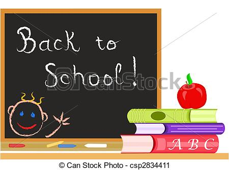 Back to school message clipart graphic stock Vector Clip Art of Back to School message on a blackboard in a ... graphic stock