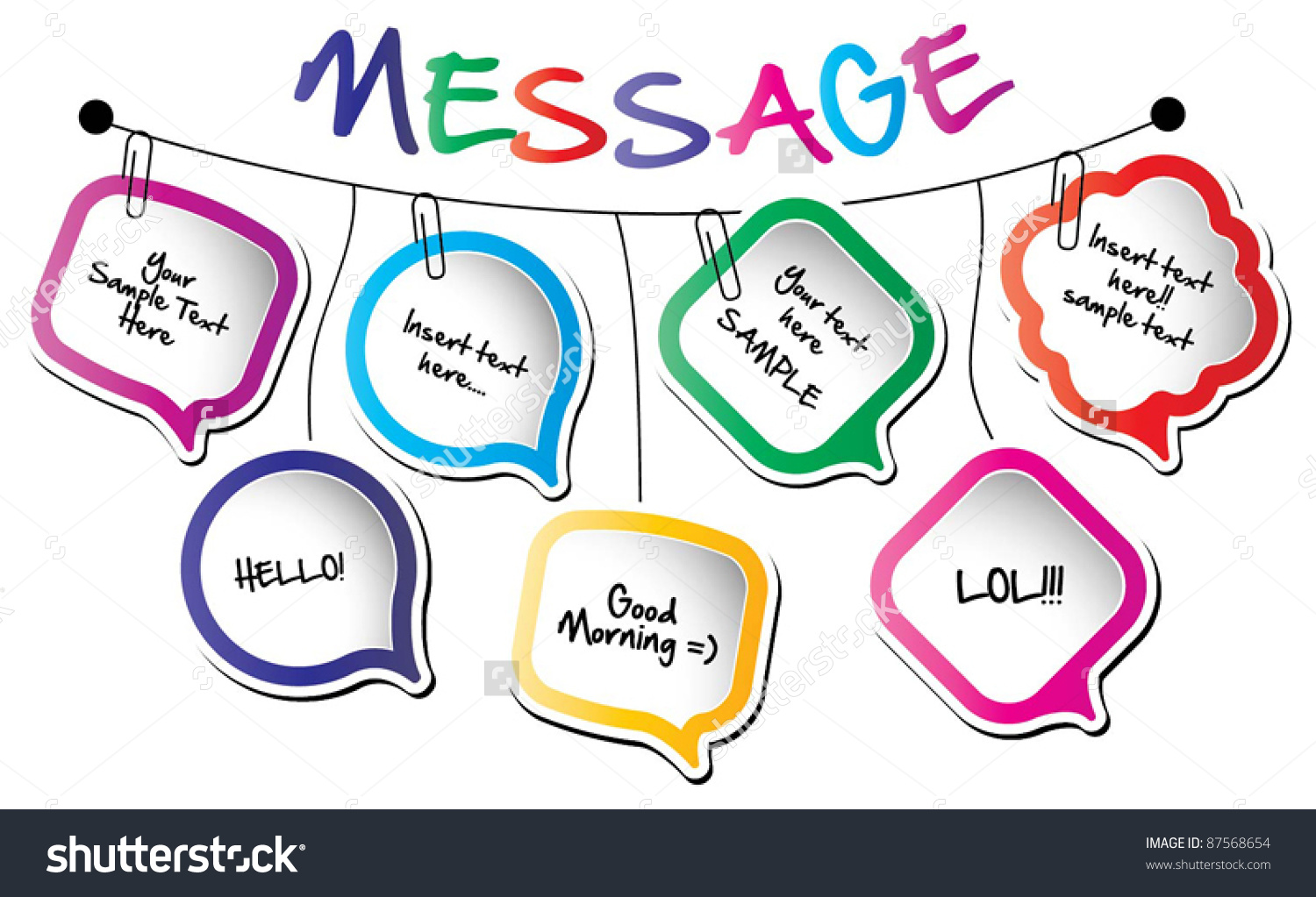 Back to school message clipart graphic download Back School Conceptwall Hanging Message Bubbles Stock Vector ... graphic download
