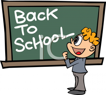 Back to school message clipart clip art freeuse Boy Standing in Front of a Chalkboard with Back to School Message ... clip art freeuse