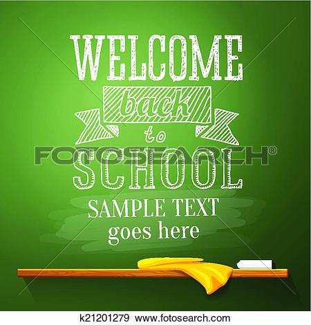 Back to school message clipart svg freeuse Clip Art of Welcome back to school message on the chalkboard with ... svg freeuse