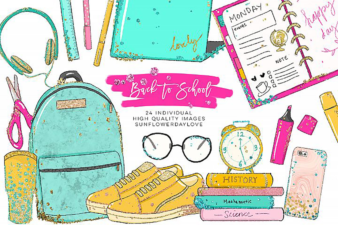 Back to school photo clipart svg black and white Back to School planner clipart, Watercolor School Clipart - Vsual svg black and white