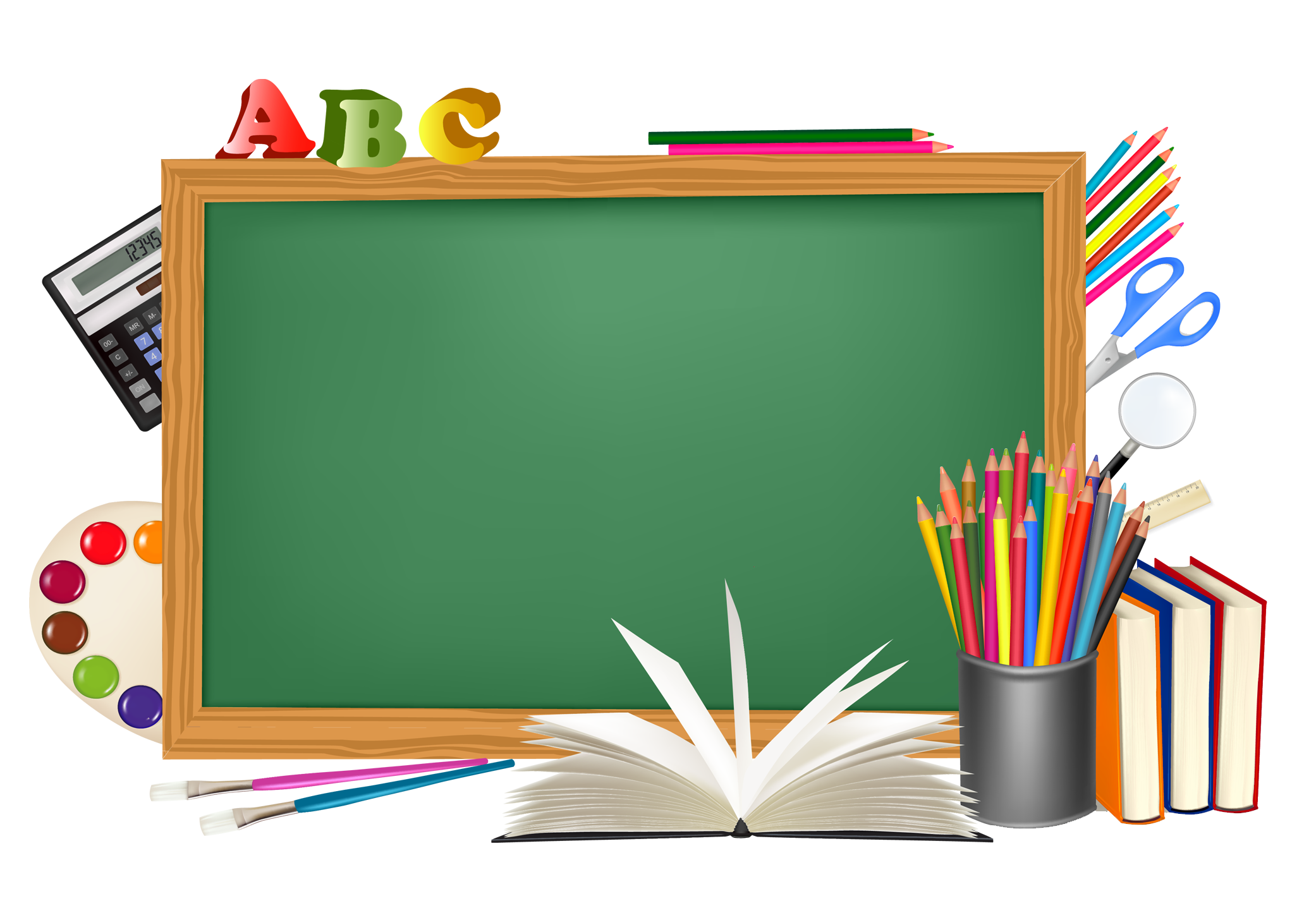 School blackboard clipart vector black and white download Green School Board and Decors PNG Picture | ✪ Clipart ... vector black and white download