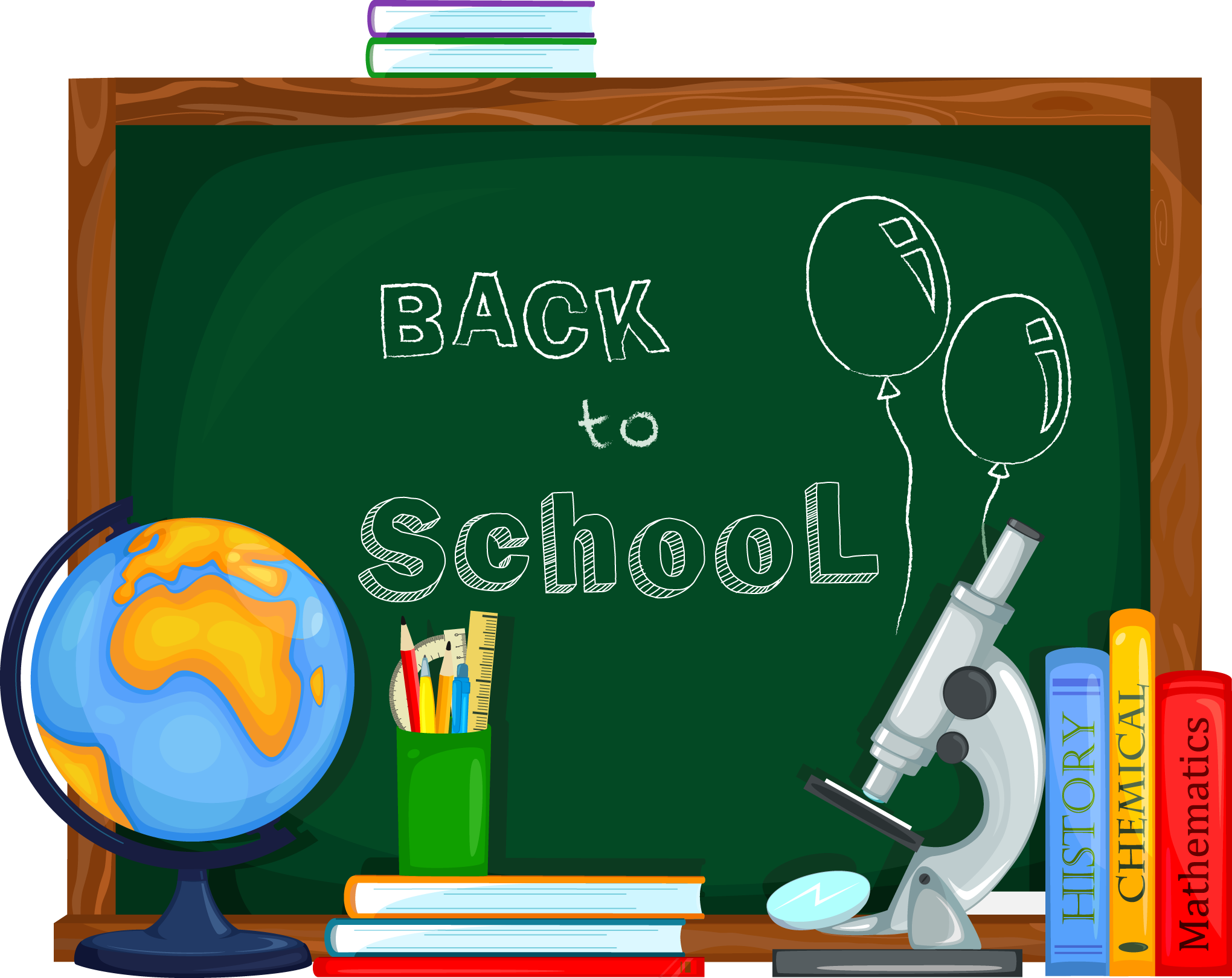 Back to school supplies clipart vector library stock School Clip art - School supplies and chalkboard 2040*1620 ... vector library stock